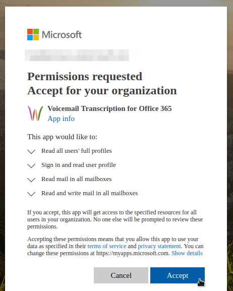 Consent Nexiwave Voicemail Transcription in Office365
