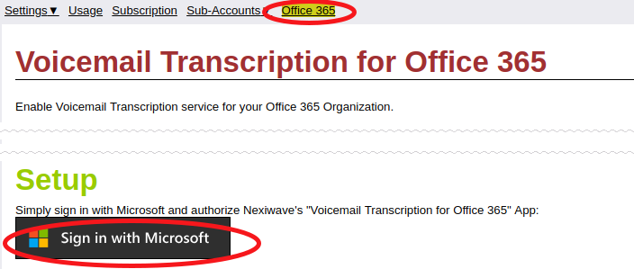 Nexiwave Sign In With Microsoft example