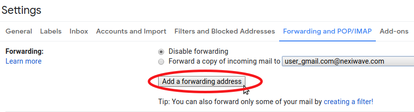 Go to forwarding and add a forwarding address