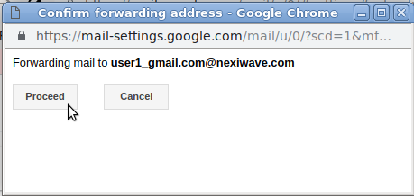 Confirm add forwarding address