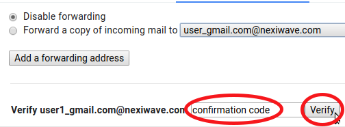 Verify forwarding confirmation code